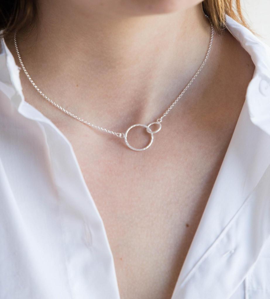 Silberkette Verbundenheit, zwei Kreise, silber