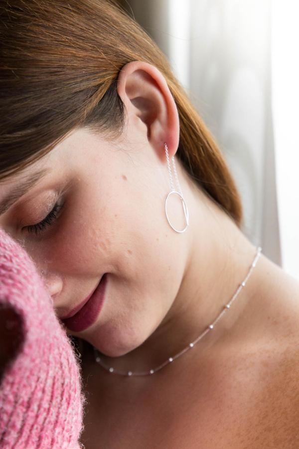 Kuegelchenkette und Ohrring zum Durchziehen Kreis