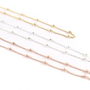 925er Silberkette mit Kuegelchen 3 farben