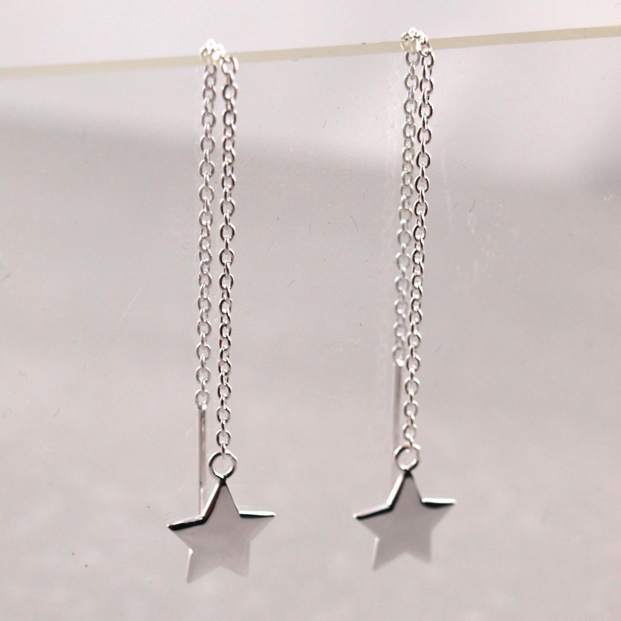 Durchzieh Ohrring 925er Silber Anhaenger Stern_