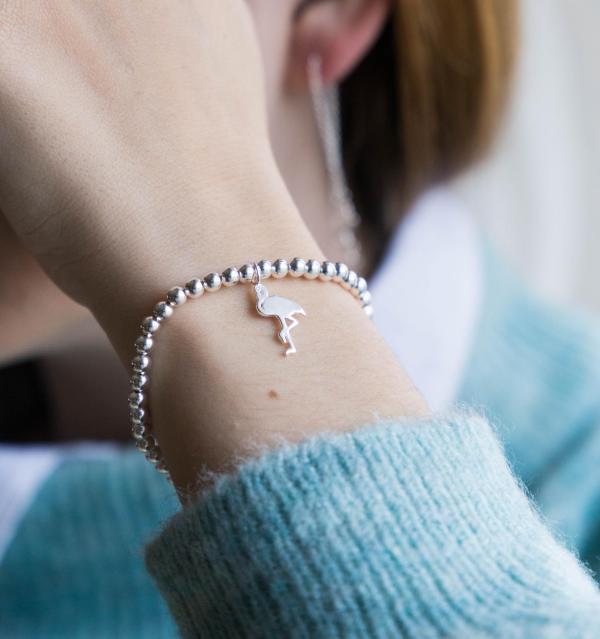 Flamingo Anhaenger Armband echt Silber