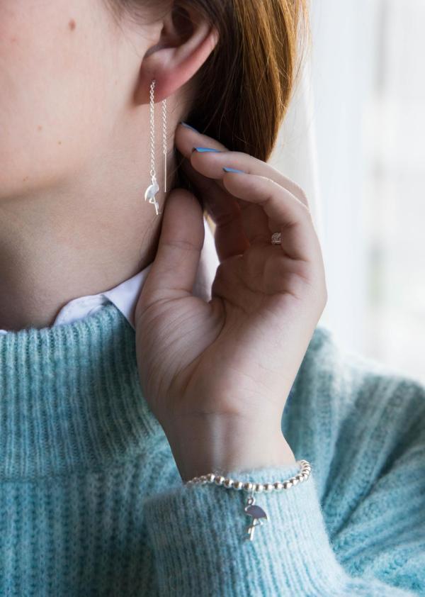 Flamingo Anhaenger Durchzieh-Ohrringe echt Silber