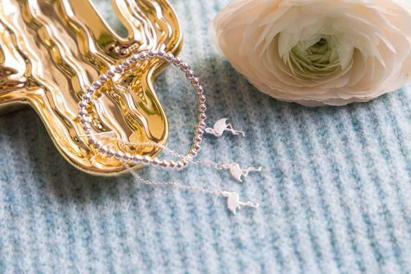 Echt Silber Flamingo Durchzieh Ohrring und Armband mit Flamingo Anhänger
