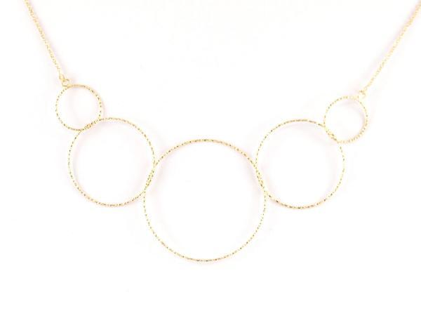 Silberkette Verbundenheit, fünf Kreise, gold