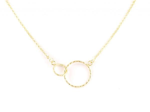 Silberkette Verbundenheit, zwei Kreise gold