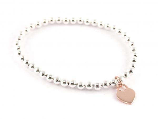 Silberkugelarmband mit Herzanhänger in rosevergoldet