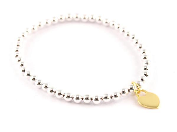 Silberkugelarmband mit Herzanhänger in vergoldet