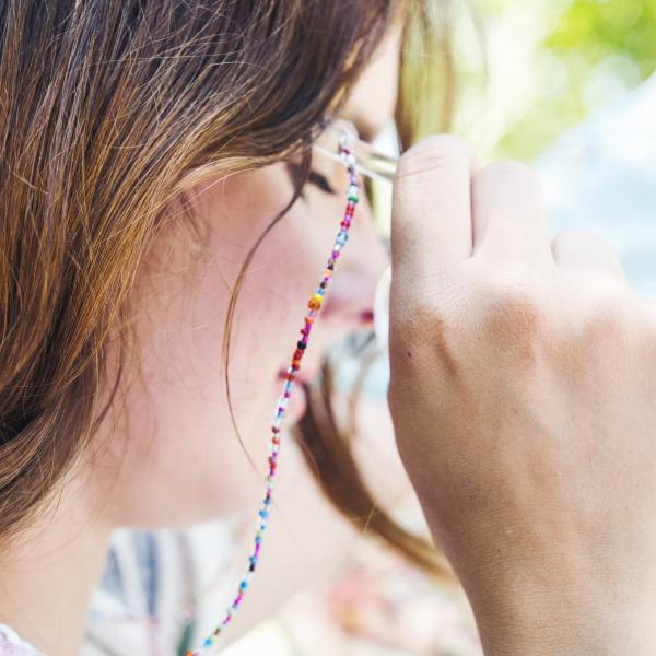 Brillenkette aus bunten Perlen für Sonnenbrille oder Lesebrille