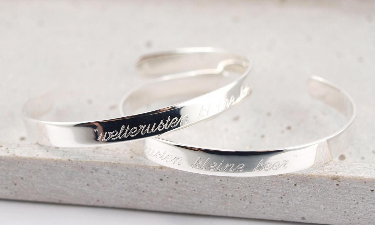 Armspangen Silber mit Wunschtext die Geschenkidee Partnerschmuck Freundschaftsarmband