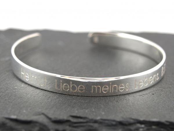 Silberne Armspange mit Wunschtext