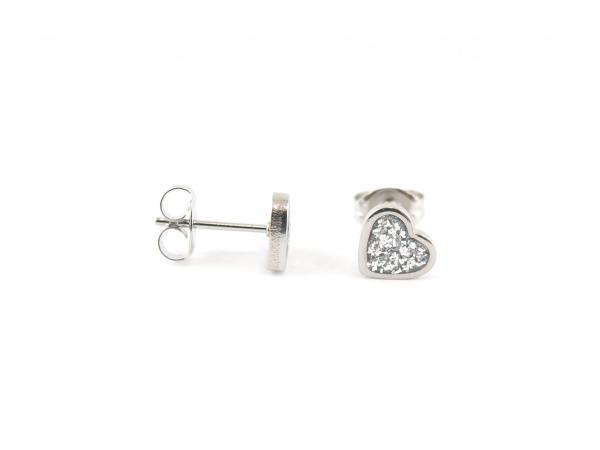 Hypoallergener Ohrring Herz Glitzer Silber