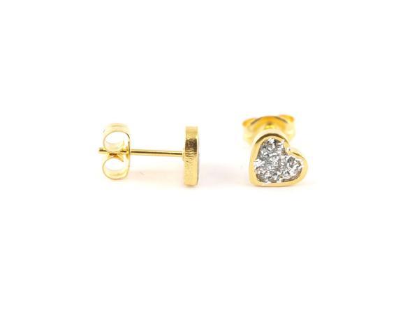 Hypoallergener Ohrring Herz Glitzer gold