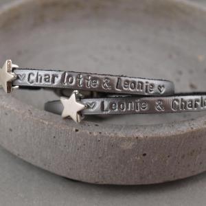 Lederarmband Set Stella mit Stern in der Farbe Silber mit Wunschtext 2