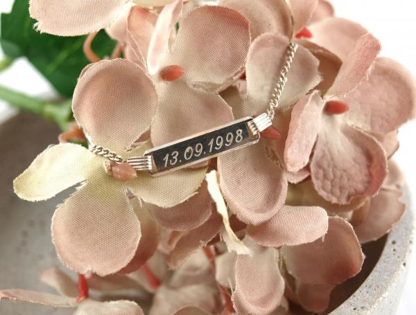 Geburtsgeschenk Armband Silber mit Datum Gravur