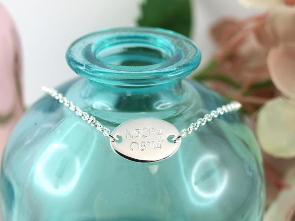 Gravurarmband oval, Silber, mit Wunschtext