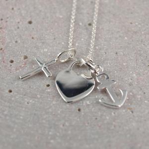 Kette Glaube Liebe Hoffnung Gravur moeglich Silber