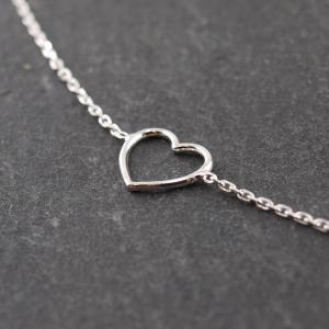 Feines Silberarmband Karabiner großes Herz