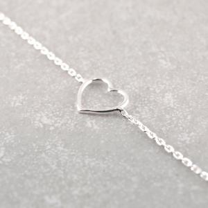 Feines Silberarmband Karabiner großes Herz_
