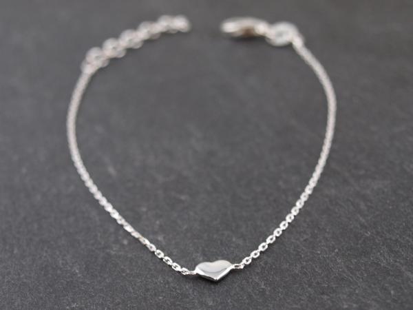 Feines Silberarmband Karabiner kleines Herz 2