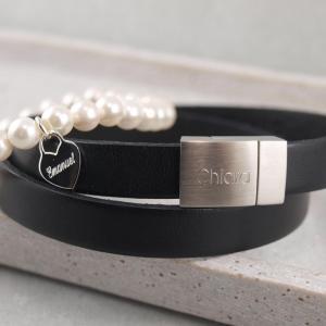 Freundschaftsband Set mit Lederarmband Riemen u Perlenband mit Herz Gravur Optione