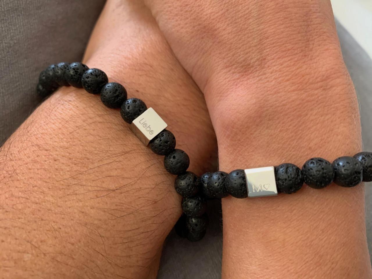 Lavaperlen schwarz Freundschaftsband mit Gravur die Geschenkidee