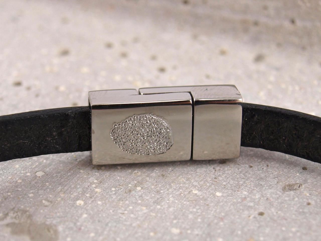 Nici Lederarmband Gravur auf Verschluss Edelstahl Eckig Fingerabdruck