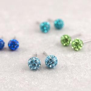 Ohrring aus Chirugenstahl Fireball viele Farben blau grün