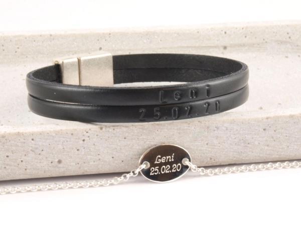 Partnerset Marc und Silberarmband oval Geburtsgeschenk 3