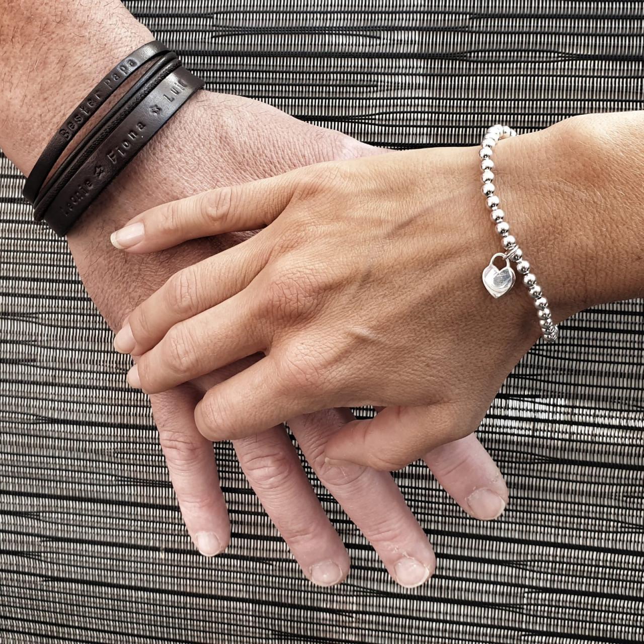 Schmuckset mit Wunschtext Gravur Geschenkidee Herrenarmband Leder Silber Herz
