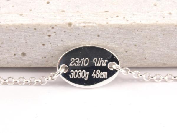 Silberarmband oval Geburtsgeschenk