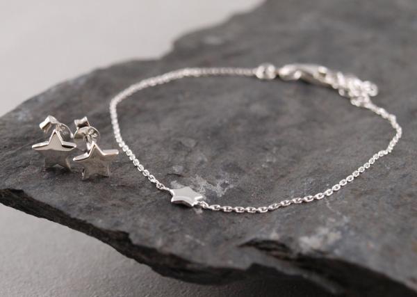 Filigranes Armband mit Stern und Silberohrringe Stern im Set