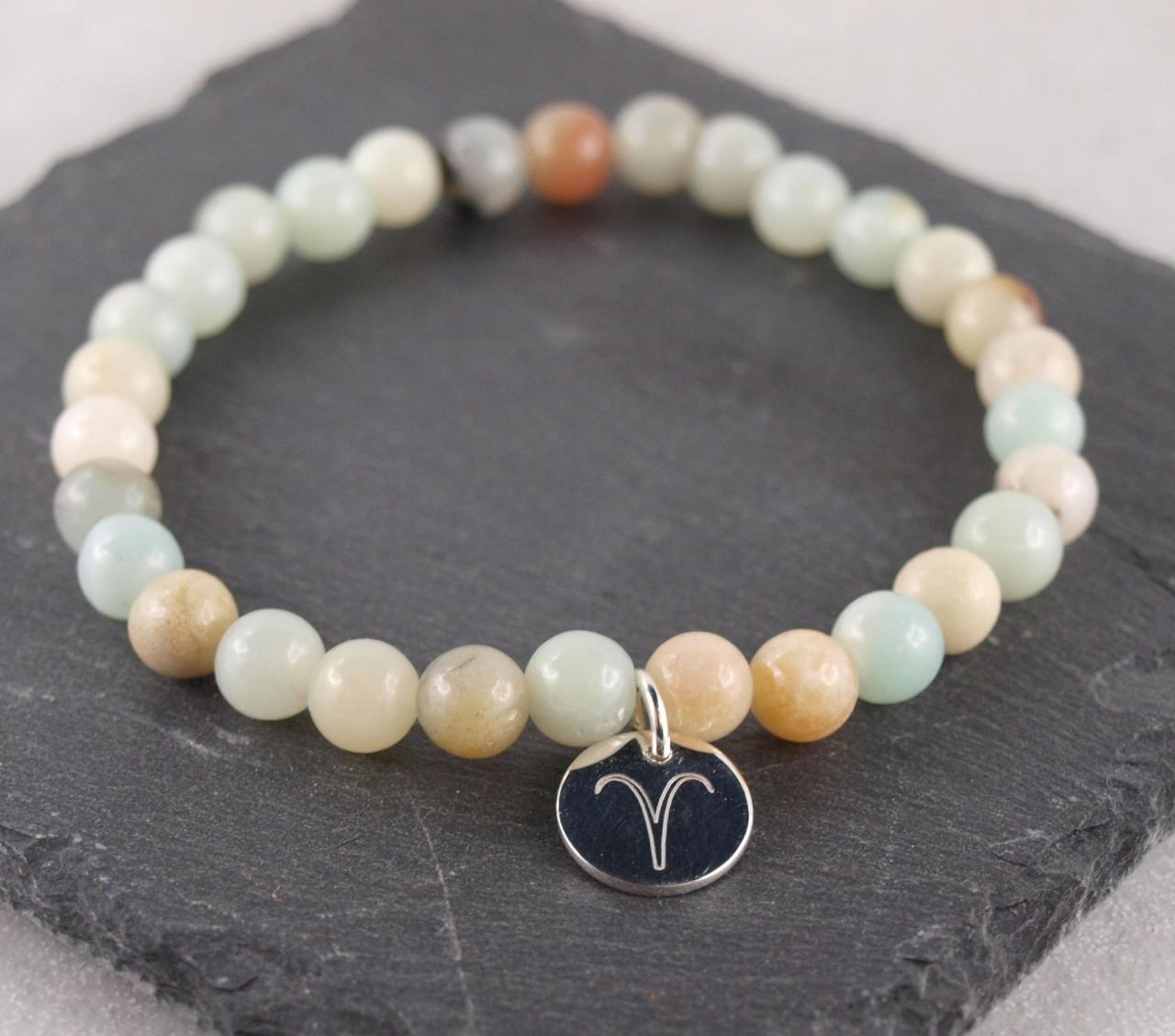 Naturstein Armband Perle mit Sternzeichen Gravuranhänger