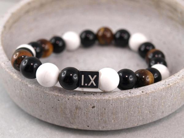 Perlenarmband Till aus verschiedenen Perlen, Onyx, Tigerauge