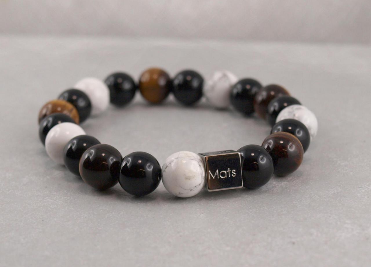 Perlenband mit Edelstahlwürfel aus Onyx, Tigerauge und Magnesit