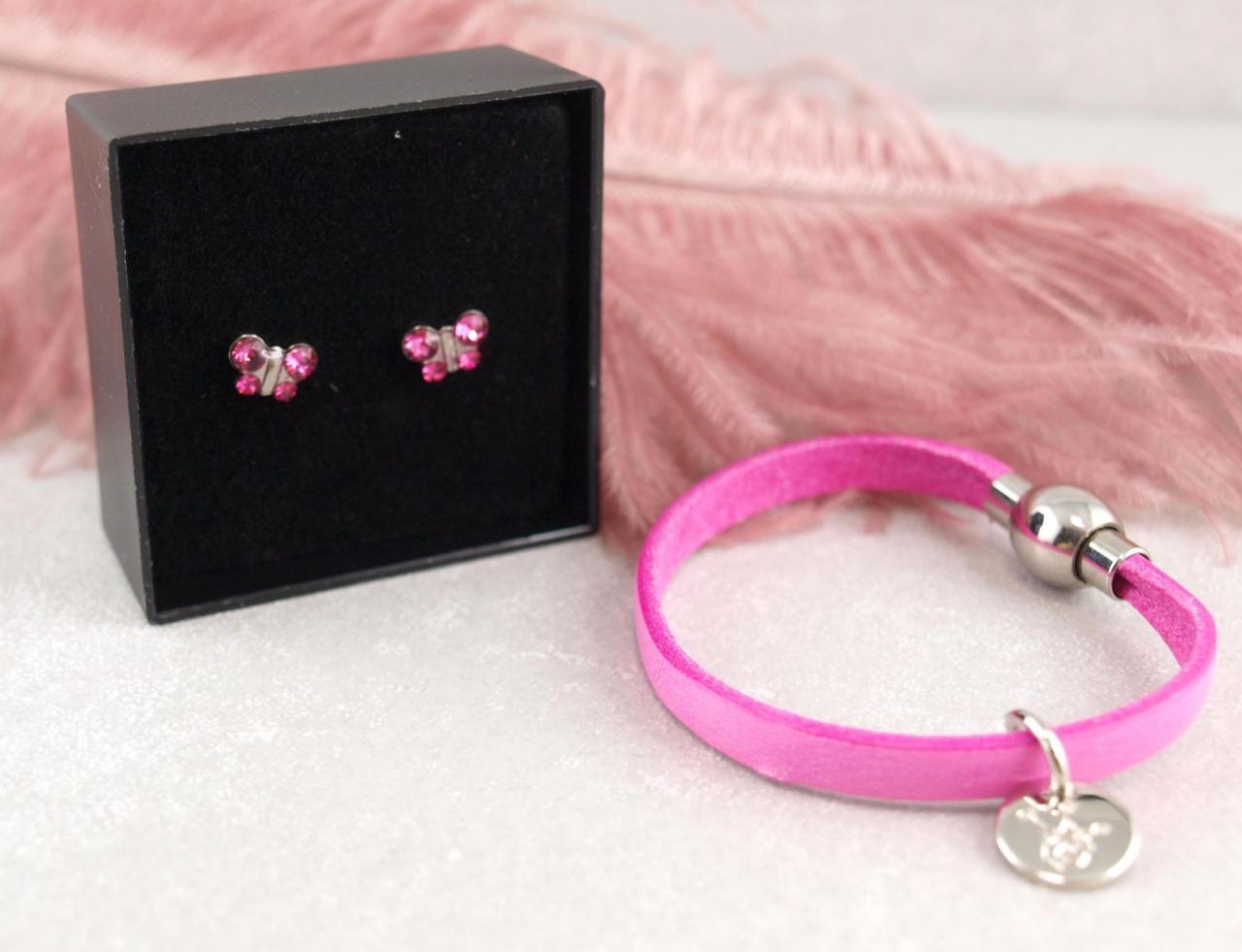 Studex Folgeohrring Schmetterling Ohrstecker mit personalisierbarem Lederarmband Gravur Namensarmband SOS Armband