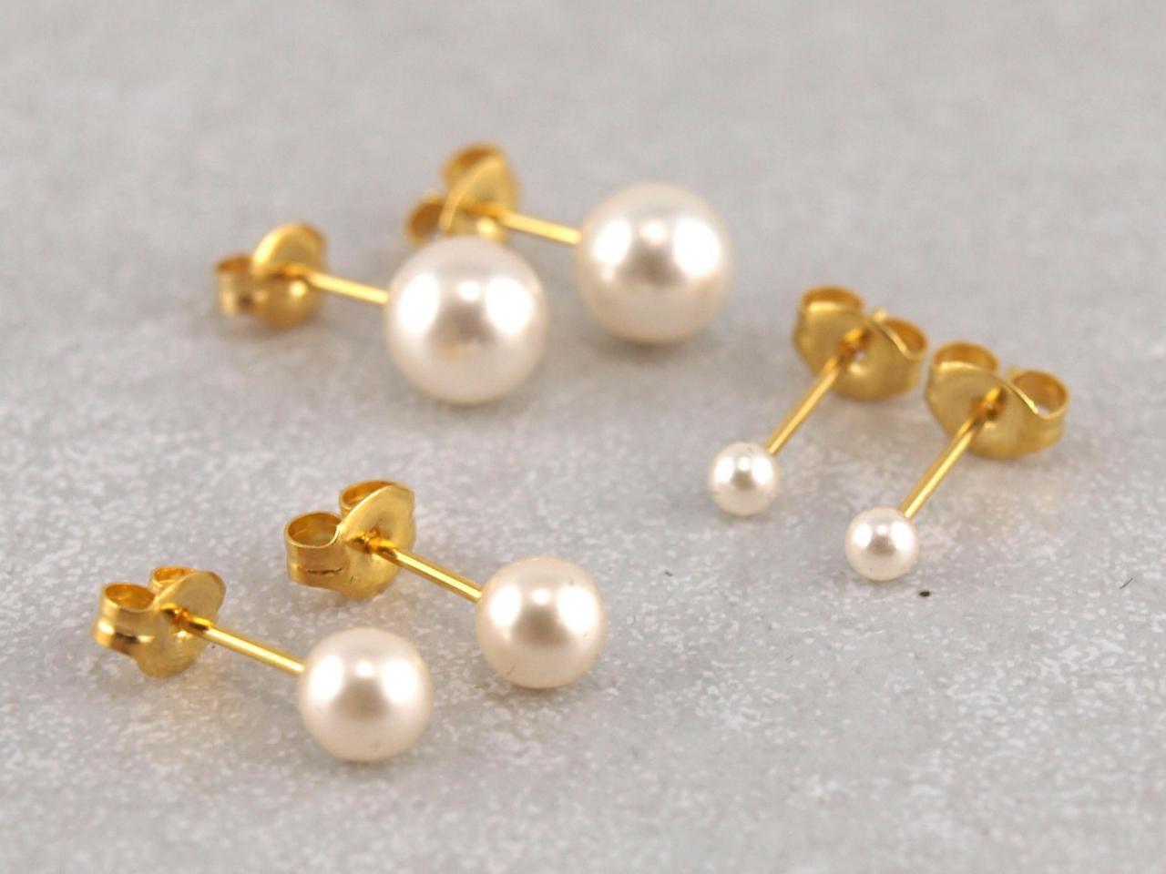 Hypoallergener Ohrstecker Studex Perle vergoldetverschiedene Größen__