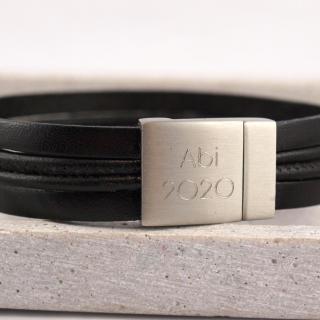 Die Geschenkidee zum Abi für Jungs, Lederarmband mit gravur braun