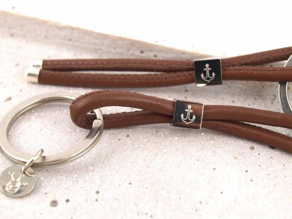Schlüsselanhänger SET mit Edelstahlwürfel, gravierbar, rotbraun