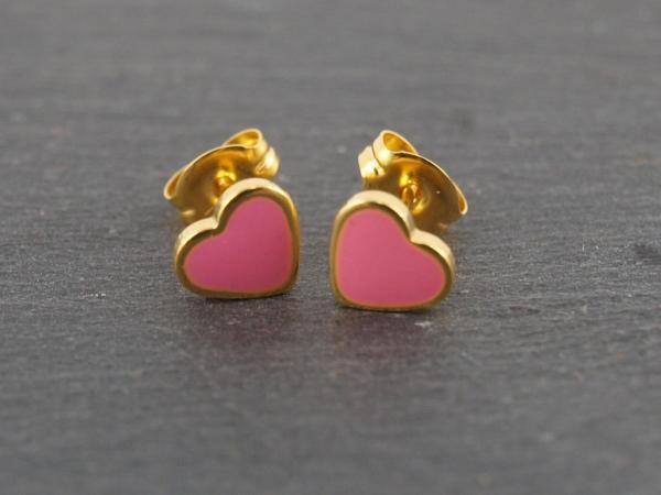 Herz Pink Rosa Gold Studex Ohrstecker Allergiker