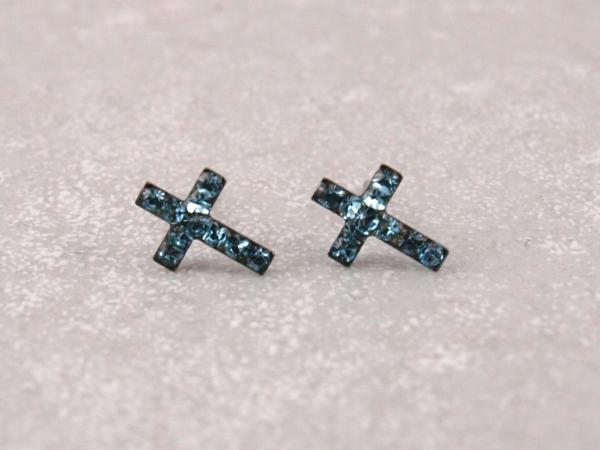 Kreuz blau Kommunion Geschenk Studex Ohrstecker -Allergiker21