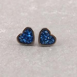 Ohrringe aus Edelstahl mit Glitzerherz blau (2)