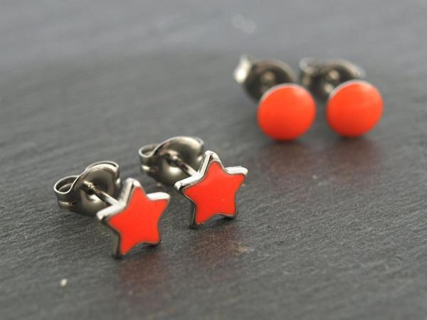 Ohrstecker Allergiker geeignet Neon Stern Studex und Neon Orange rund