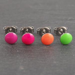 Ohrstecker Allergiker geeignet leuchtend Neon gruen pink orange magenta rund Studex