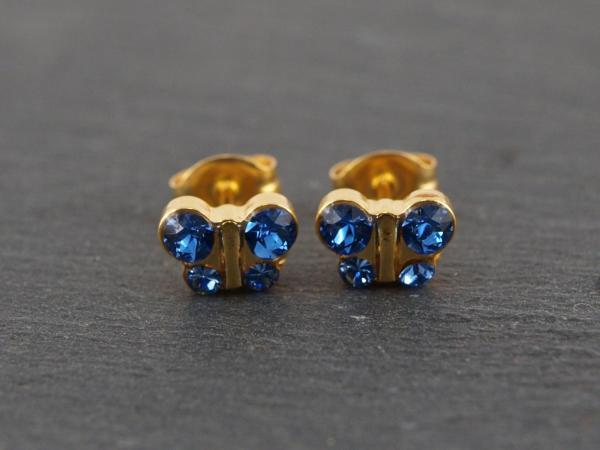 Schmetterling gold blau glitzer Studex Ohrstecker Allergiker