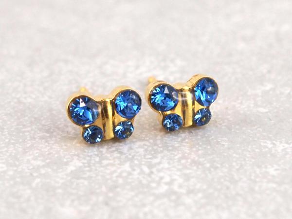 Schmetterling gold blau glitzer Studex Ohrstecker Allergiker10__