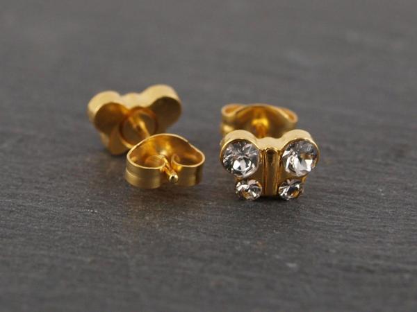 Schmetterling gold kristall weiss strass glitzer Studex Ohrstecker Allergiker