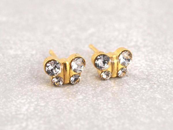 Schmetterling gold kristall weiss strass glitzer Studex Ohrstecker Allergiker15__