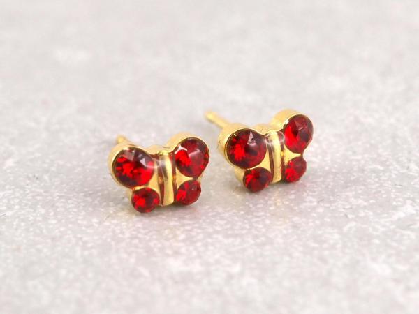 Schmetterling gold rot glitzer Studex Ohrstecker Allergiker12_-