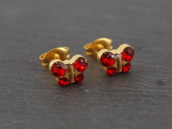 Schmetterling gold rot rubin glitzer Studex Ohrstecker Allergiker