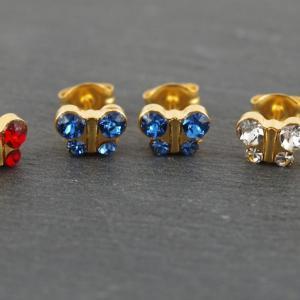 Schmetterlinge gold blau rot weiss glitzer Studex Ohrstecker Allergiker
